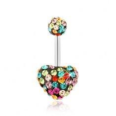 Piercing de buric, oțel 316L, zirconii multicolore, inimă, bilă - Piercing buric