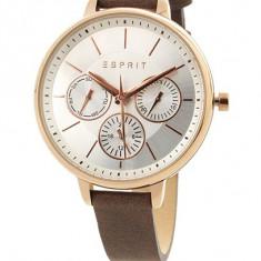 Ceas Esprit multifunctional - Ceas dama Esprit, Fashion, Quartz, Placat cu aur, Piele, Calendar perpetuu