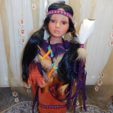 Papusa portelan-Indianca cu codite-superba!!! - Papusa de colectie