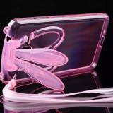 Husa cu urechi de iepuras si snur samsung galaxy s5 - roz - Husa Telefon, Transparent