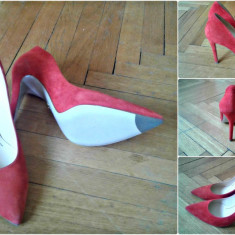 Pantofi damă, toc stiletto, marca Musette, piele întoarsă - Pantof dama, Marime: 36, Culoare: Orange