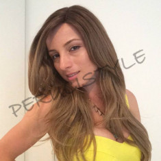 Peruca saten deschis lace front nuanta ca in foto si model 80% natural foto real - Peruca Dama