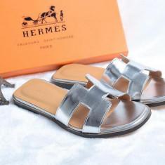 Slapi dama HERMES - La promotie!!!, Marime: 36, Culoare: Argintiu