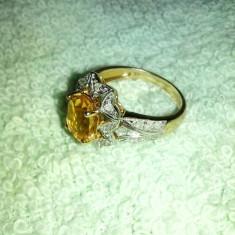 Inel aur galben cu diamante si safir galben, - Inel diamant, Carataj aur: 14k
