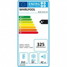 Combina frigorifica Whirlpool 6 th Sense Fresh Control BSNF 9101 OX, 339 l, Clasa A+, H 201 cm, Inox
