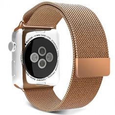 Curea pentru Apple Watch 38mm Otel Inoxidabil iUni Rose Gold Milanese Loop - Smartwatch