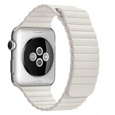 Curea piele pentru Apple Watch 42mm iUni White Leather Loop - Smartwatch