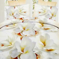 Lenjerie bumbac satinat cu 6 piese model floral 3D - lenjerie cod A63 - Lenjerie de pat