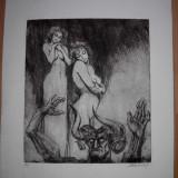 "GRAVURA MARCEL CHIRNOAGA ""ISPITELE"" - Pictor roman, Abstract, Cerneala"