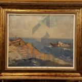 TABLOU, MARIUS BUNESCU, COLT LA MANGALIA CU VAPOR, U/P - Pictor roman