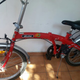 Bicicleta pliabila 6 viteze Velors unisex, Rosu - Bicicleta pliabile, 12 inch, 20 inch, Numar viteze: 6