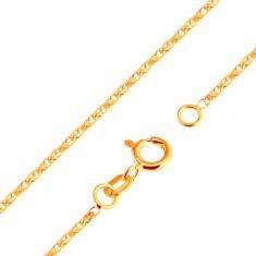 Lanț strălucitor realizat din aur galben 18K - zale strălucitoare ovale legate, 500 mm - Lantisor aur
