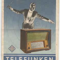 @pliante-TELEFUNKEN - APARATE DE RADIO CU LAMPI DIN ANUL -1942-1943 - Pliant Meniu Reclama tiparita