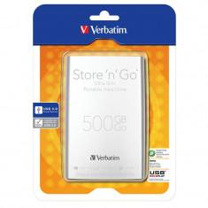 Hard disk extern Verbatim Store n Go Ultra Slim 500GB 2.5 inch USB 3.0 Silver - HDD extern