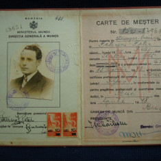 Carte de Mester pentru meseria de strungar, ROMANIA Ministerul Muncii/colectie - Pasaport/Document, Romania 1900 - 1950