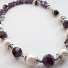 Colier ametist natural maxifatetat cu perle de cultura