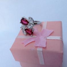 Inel dama argint 925 cu safir model Red Flower - Inel argint