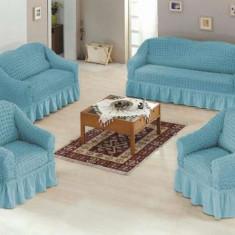 Set huse canapea 3 locuri, canapea 2 locuri si 1 fotoliu 3+2+1 Culoare Bleo - Cuvertura