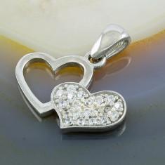 Colier placate cu aur - Pandantiv model Inimi cu Zirconiu, din Argint 925, cod 244