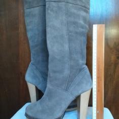 Cizme dama - Cizme lungi, cu platforma, din piele intoarsa naturala gri, masura 38