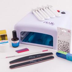Trusa manichiura - Set manichiura cu gel, kit pentru aplicarea unghiilor false, Kit unghii cu gel