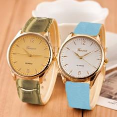 NOU Ceas elegant de dama cu cadran auriu si curea piele ecologica aurie GENEVA - Ceas dama Geneva, Quartz, Piele - imitatie, Analog