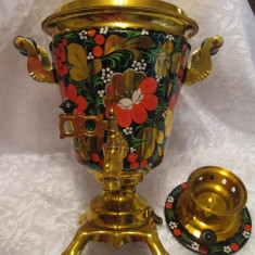 Metal/Fonta - RUSSLAND SAMOVAR ORIGINAL- RUSIA ANII 60 PICTAT MANUAL 3 LITRI 37 CM