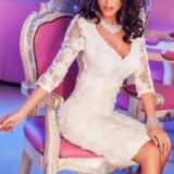 Rochie de seara - Rochie midi din dantela cu model floral, maneca 3/4, alb