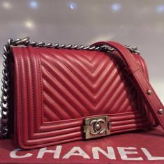 Geanta Dama Chanel, Geanta de umar, Asemanator piele - Geanta Chanel Le Boy Chevron Medium Size * Piele Ecologica First Class Premium *