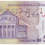 Bancnota 50.000 lei ( 50000 ) 2001, polymer a.UNC/UNC