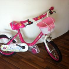 Bicicleta copii, 16 inch, 16 inch, 5-7 ani, Roz, Numar viteze: 1 - Bicicleta Fetite 16 inch 4 - 6 ani cu roti ajutatoare Junior Roz