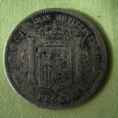 5 pesetas 1871 SPANIA - Argint, Europa, An: 1871