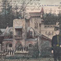 REGALITATE, SINAIA A.S.R.PRINCIPELE CAROL LA CORPUL DE GARDA, CIRC. APR. 1905 - Carte Postala Muntenia pana la 1904, Circulata, Printata