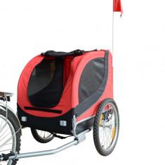 Remorca de bicicleta pentru transportatul cainilor, marca Homcom, rosie, Marime ham: XL, Marime zgarda (cm): 40