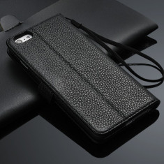 Husa piele naturala de bovina iPhone 6 / 6S lux, flip cover portofel, NEGRU, Cu clapeta