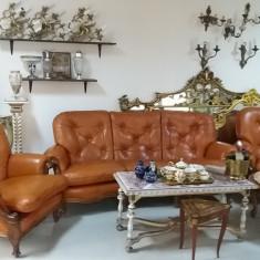 Mobilier - Superb salon canapea si fotolii din lemn masiv si piele naturala stil baroq