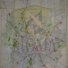 Planul Municipului BUCURESTI - 1930 !? 70 cm x 50 cm - Administratia Comunala a Tramvaielor - Carte Fotografie