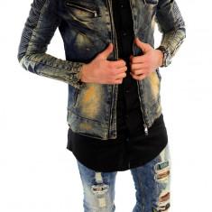 Geaca de blugi tip ZARA - geaca slim fit - geaca fashion - 6006 - Geaca barbati, Marime: L, Culoare: Din imagine
