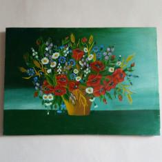 Superb tablou pictat pe panza reprezentand cos cu flori - Tablou pictori romani, An: 1999, Flori, Ulei, Realism