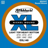 Corzi chitara electrica D'addario EXL140 Nickel Wound, Light Top/Heavy Bottom, 10-52