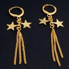 Cercei placati cu aur - Superbi cercei 9k GOLD FILLED - Lungi cu stelute