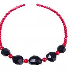 Colier argint - Colier AMOR cu pietre de onix și coral roșu