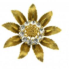 Brosa placata aur, gold plated 18 k, anii '50, decorata cristale, semnata Lisner - Brosa placate cu aur