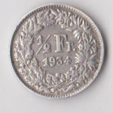Moneda 1/2 franc 1934 - Elvetia, 2, 5 g argint 0, 8350, Europa