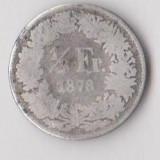 Moneda 1/2 franc 1878 - Elvetia, 2, 5 g argint 0, 8350, RARA, Europa