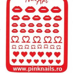 Unghii modele - Set sabloane vinyl - ''Red Valentine''