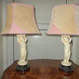 Set de 2 superbe veioze cu statuete amorasi din alabastru si abajur textil
