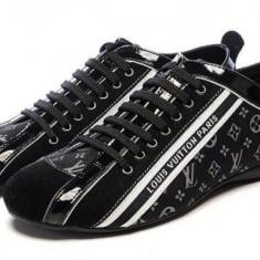 Adidasi barbatesti LOUIS VUITTON - PE STOC - Super Promotie!!! - Adidasi barbati Louis Vuitton, Marime: 41, 44, Culoare: Albastru, Negru