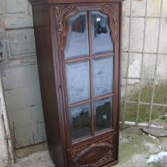 Mobilier - Vitrina / biblioteca lemn sculptat si cristal bizotat