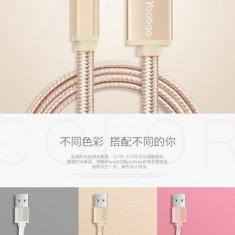 Cablu 8 Pin Lightning iPhone 5 5C 5S 6 6S 6/6S Plus YB-413 Gold Yoobao 1metru - Cablu de date Yoobao, iPhone 6